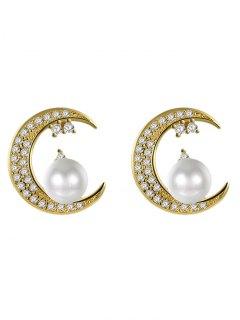 Rhinestone Faux Pearl Moon Stud Earrings - Golden