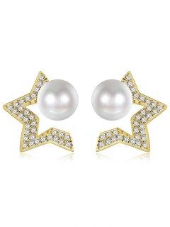 Faux Pearl Star Tiny Stud Earrings - Golden