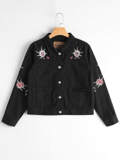 Button Up Floral Embroidery Denim Jacket - Black S