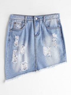 Ripped High Waist Asymmetric Denim Skirt - Light Blue L