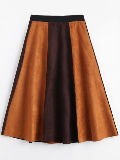 Suede Color Block Swing Skirt - Brown 2xl