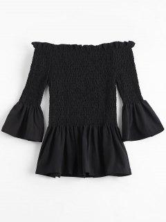 Bell Sleeve Off The Shoulder Smocked Blouse - Black S
