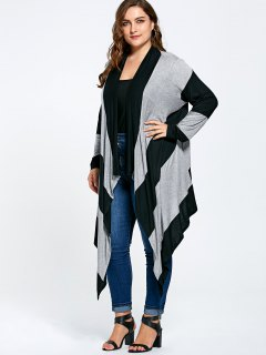 Striped Plus Size Long Asymmetric Cardigan - Black And Gray 5xl