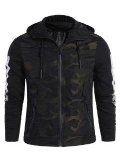Camo Side Letter Hooded Jacket - Black 4xl