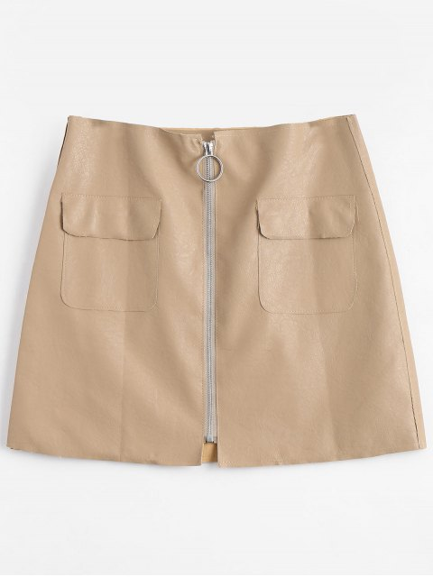 new Zipper Fly High Waisted Mini Skirt - APRICOT S Mobile