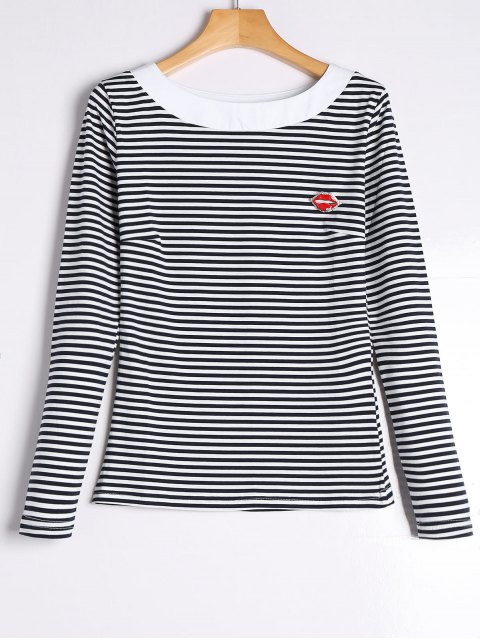 shops Striped Long Sleeve Tee with Brooch - STRIPE 2XL Mobile