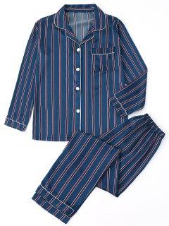 Satin Striped Shirt With Pants Pajamas - Stripe S