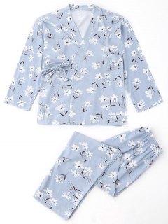 Floral Wrap Kimono And Pants Pajamas Suit - Light Blue S