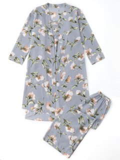 Pajamas Floral Kimono And Cami Top And Pants - Blue Gray M