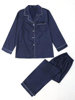 Satin Pocket Shirt With Pants Pajamas Set - Deep Blue Xl