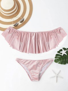Velvet Ruffle Off The Shoulder Bikini Set - Pink S