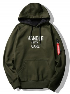 Flocking Handle With Care Graphic Hoodie - Army Green L