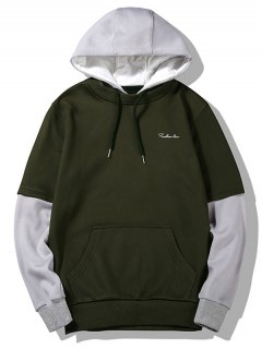 Flocking Two Tone Hoodie - Army Green L