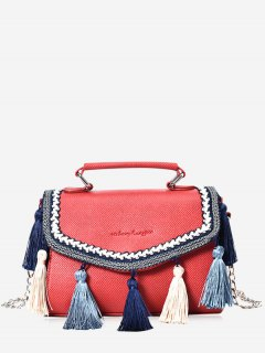 Textured Leather Chain Tassels Crossbody Bag - Red