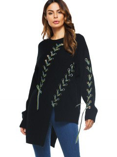 Long Lace Up Asymmetrical Sweater - Black