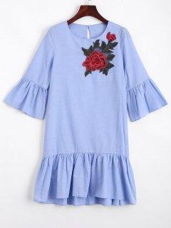 Mini Robe Droite Brodée Florale à Volants - Bleu Clair S
