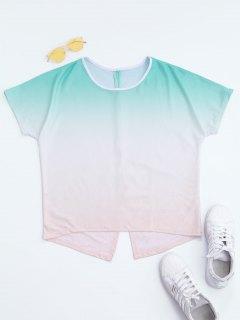 Back Slit Ombre T-shirt - 2xl