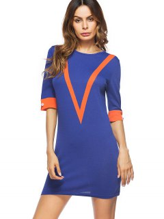 Contrasting V Pattern Mini Bodycon Dress - Blue