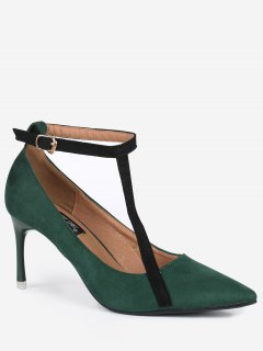 Pointed Toe Ankle Strap Mini Heel Pumps - Green 39