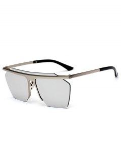 Metallic Semi Rimless Mirror Pilot Sunglasses - Silver
