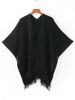 Open Front Fringed Cape Cardigan - Black