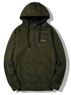 Half-zipper Flocking Hoodie - Army Green Xl