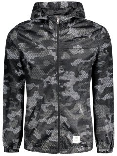Patched Fishnet Camo Windbreaker - Black 3xl