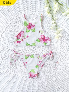 Floral High Neck Kids String Bikini - White 7t