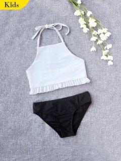 Ruffles Halter Kids Bikini - White 4t