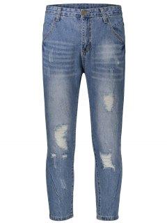 Ripped Taper Jeans - Denim Blue 34