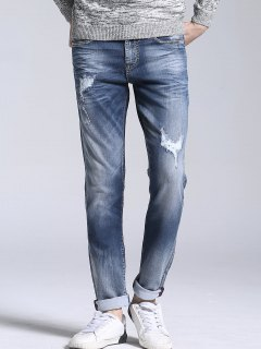 Zipper Fly Vintage Ripped Straight Jeans - Light Blue 34
