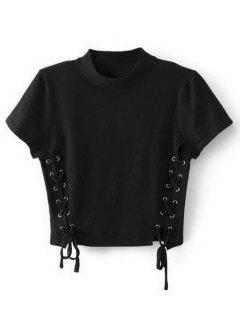 Crew Neck Knit Lace-up Crop Top - Black M