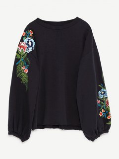 Drop Shoulder Embroidery Sweatshirt - Black M