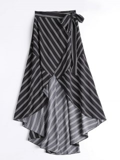 Striped High Waist Asymmetric Wrap Skirt - Black M