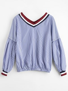 Striped V Neck Casual Blouse - Stripe