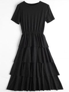 Round Collar Layered Dress - Black L