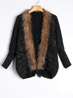 Faux Fur Trimmed Cable Knit Cardigan - Black