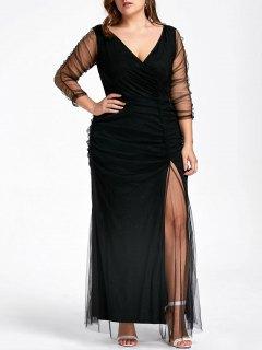 Plus Size Ruched Sheer Formal Dress - Black 3xl