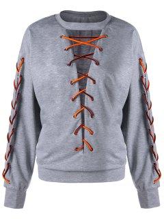 Lace Up Low Cut  Plus Size Sweatshirt - Light Grey 5xl