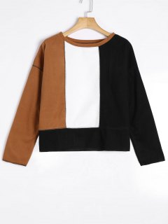 Drop Shoulder Color Block Top - Khaki