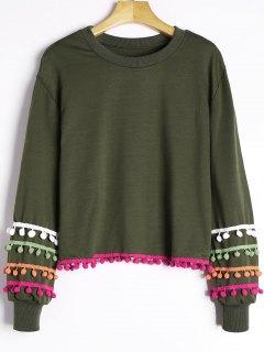 Colored Pom Pom Trimmed Sweatshirt - Army Green