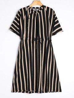 Half Sleeve Drawstring Striped Dress - Black Xl