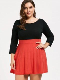 Plus Size Two Tone Dress - Orange 3xl