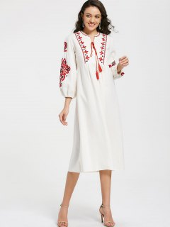 Puff Sleeve Floral Patched Tassels Dress - White