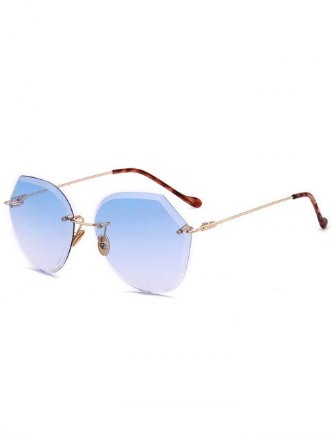 womens Ombre Lens Metallic Legs Rimless Sunglasses - LIGHT BLUE  Mobile