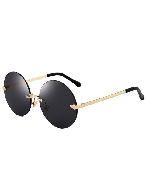 lady Jelly Lens Round Rimless Sunglasses - BLACK  Mobile