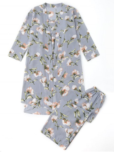 sale Pajamas Floral Kimono and Cami Top and Pants - BLUE GRAY S Mobile