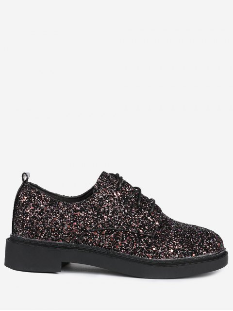 outfits Low Top Glitter Tie Up Flat Shoes - BLACK 38 Mobile