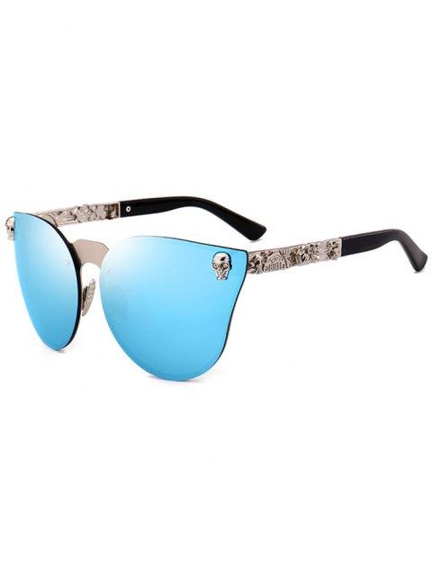 chic Skull Insert Butterfly Mirror Sunglasses - BLUE  Mobile