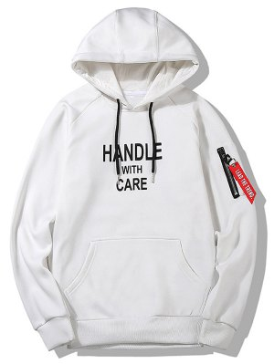 Flocking Handle With Care Graphic Hoodie